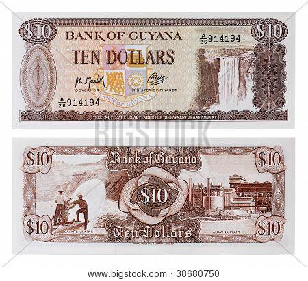 Exotic Currency Money - Ten Dollars Of Guyana