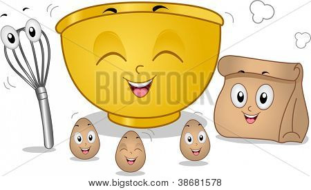 Mascot Illustration Featuring Eggs, an Egg Beater, a Mixing Bowl, and a Paper Bag