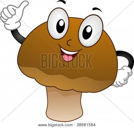 Mascot Illustration Featuring a Mushroom Doing a Thumbs Up
