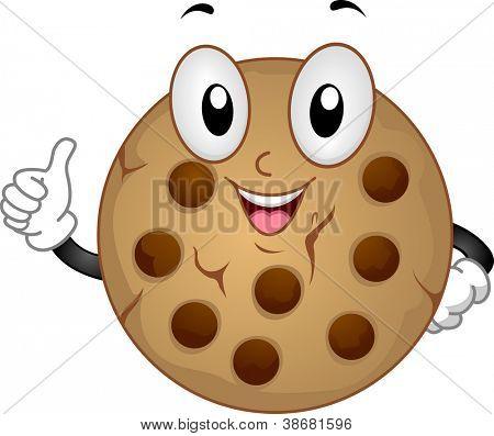 Ilustración de la mascota con una Cookie haciendo un pulgar para arriba