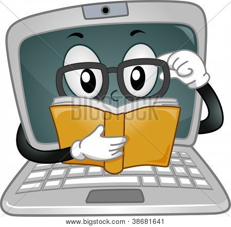 Mascot Illustration Featuring a Laptop Reading a Book