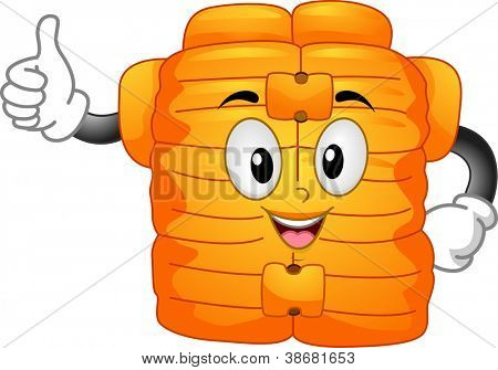 Mascot Illustration Featuring a Life Vest Doing a Thumbs Up