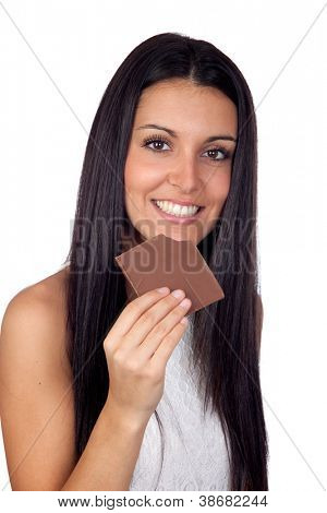 Young Girl Eating Chocolate Isolated on White