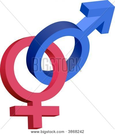 Red And Blue Male Female 3D Symbols Interlocked