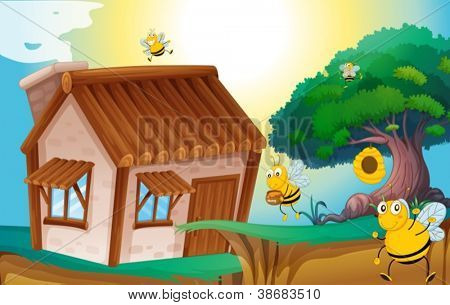 illustration of a honey bee and a house in a beautiful nature
