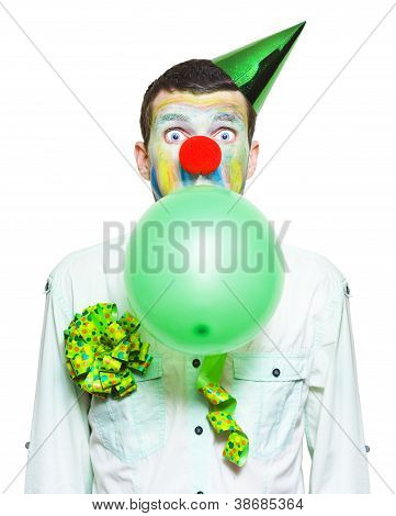 Portrait Of Birthday Clown Preparing To Party