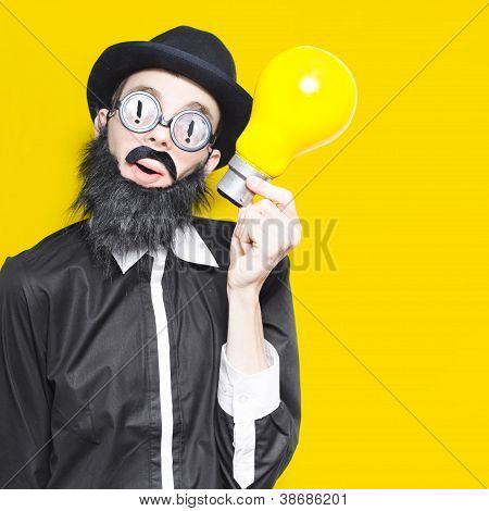 Smart Man With Big Creative Idea On Yellow Copyspace