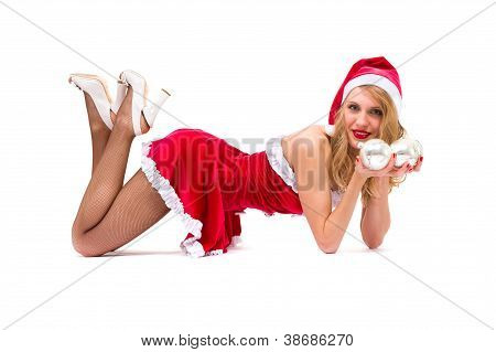 Sexy Girl Wearing Santa Claus Clothes Posing