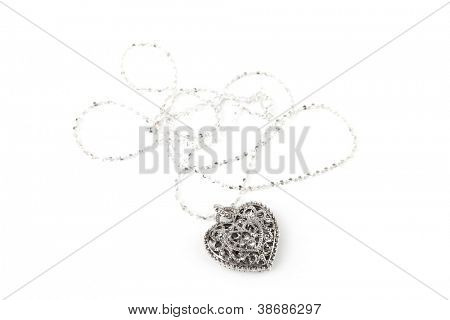 Silver heart pendant necklace, Isolated on white