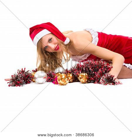Girl Wearing Santa Claus Clothes With Copy Space