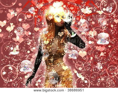 Girl In Golden Mask Blowing Snow