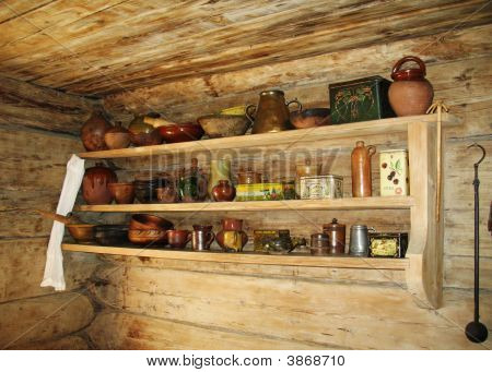Ancient Shelf For Kitchen Utensils