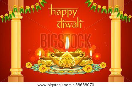 illustration of decorated golden diya for Diwali