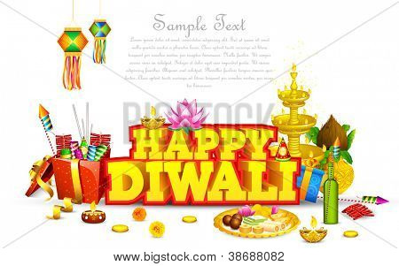 Ilustración de diya de diwali decoradas con caja de regalo y dulce