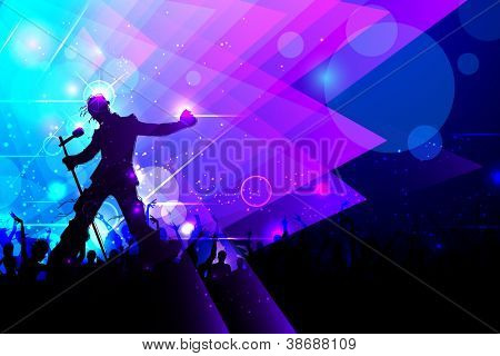 illustration of rock star performing in music concert