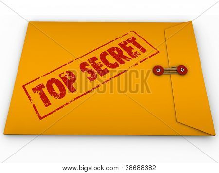 A yellow envelope with a red stamp with the words Top Secret conveying that the information inside is a secret, private, confidential, restricted message