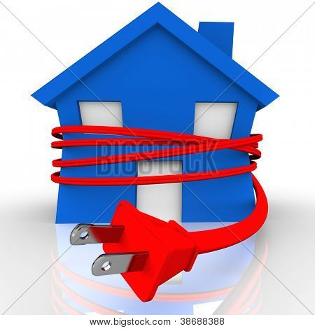A blue house or home is strangled or squeezed by a red electrical cord to symbolize reliance on electricity and the stranglehold the power source has on our lives