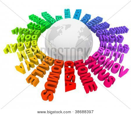 The word Home in many different languages and colors around the world representing the various diverse cultures, societies, habitats and communities of Earth