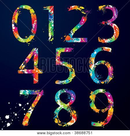 Font - Colorful numbers with drops and splashes from 0 to 9. Vector illustration.