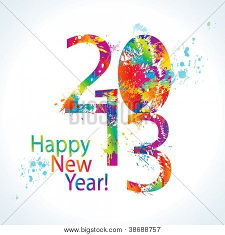 New Year's card 2013 with colorful drops and sprays on a white background. Vector illustration.