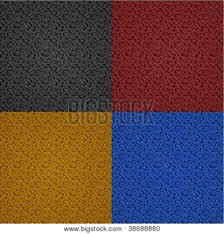 Seamless multicolored leather textures set