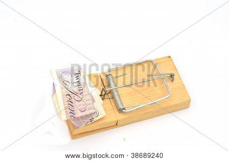 Billete de veinte libras doblado en la ratonera