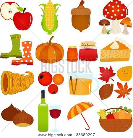 A colorful set of cute Vector Icons : Autumn / Fall Theme, isolated on white