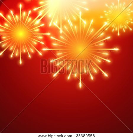beautiful vector fireworks on red background