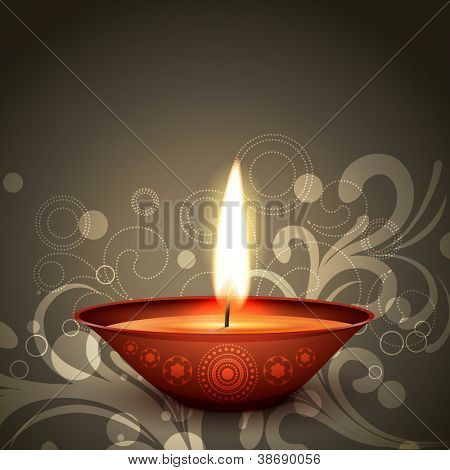 stylish indian festival diwali diya on dark background