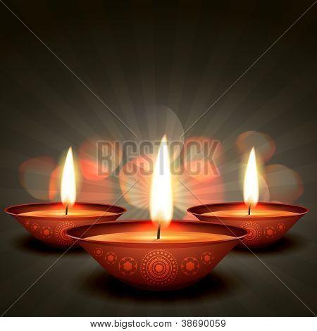 vector diwali diya on stylish background
