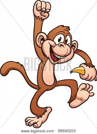 Cute cartoon monkey. Vector clip art illustration with simple gradients. All in a single layer.