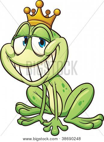Frog prince wearing a crown. Vector clip art illustration with simple gradients. All in a single layer.