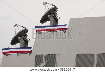 NEW YORK - OCT 6: Close up of the radars on the USS Michael Murphy (DDG 112) docked at Pier 88 after a formal ceremony to commission it into service in New York on October 6, 2012.