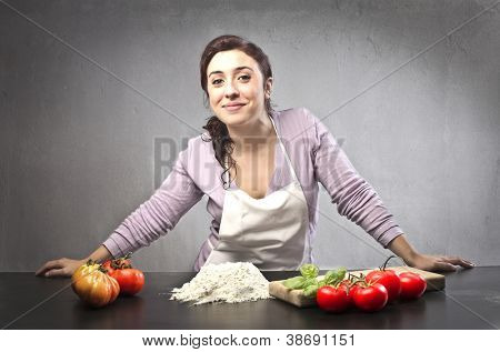 Woman preparing to eat