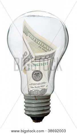 Light bulb with dollar