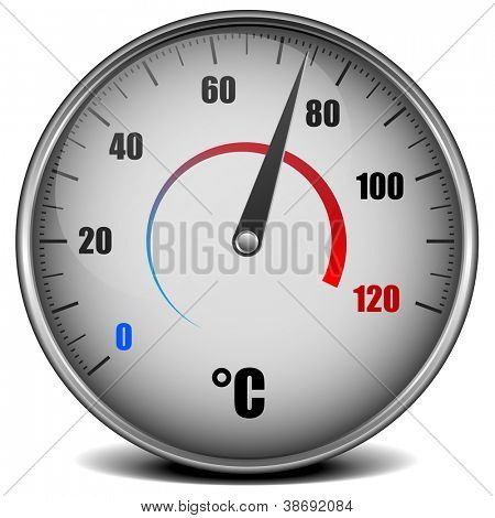 illustration of a metal framed analog thermometer