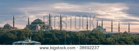 Hagia Sofia and Sultanahmet Mosque in Istanbul Turkey