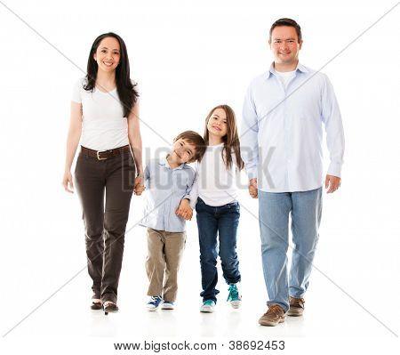 Happy Family walking - auf einem weißen Hintergrund isoliert
