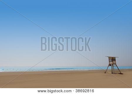 Playa del Ingles Maspalomas beach in Gran Canaria lifeguard house