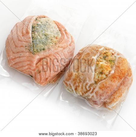 Frozen Stuffed Salmon And Tilapia Fillets In A Vacuum Package