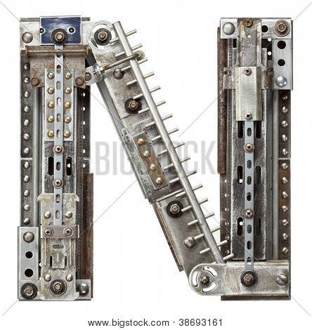 Industrial metal alphabet letter N