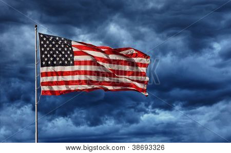 Majestic United States Flag against a dark background