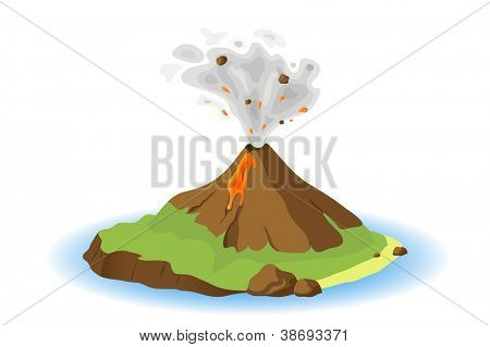 volcano erupting on island, vector illustration