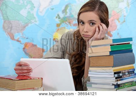 girl studying at her desk