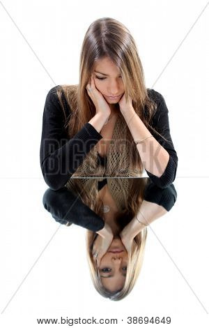 Attractive woman grieving