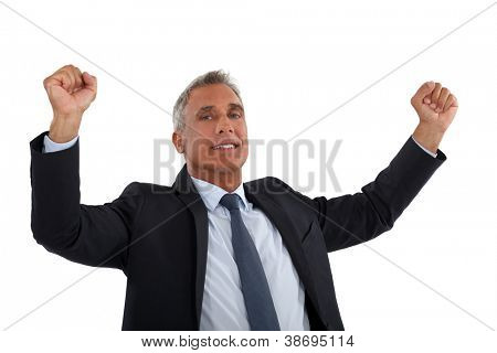 Businessman rejoicing