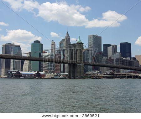 Lower Manhattan And Brooklyn Bridge