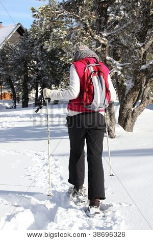 Woman retuning to chalet after cross country ski