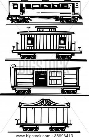 Coleção de carros do trem