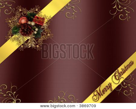 Christmas Border Ribbons Burgundy And Gold